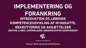 Manual sang og musik: Implementering og forankring video 3