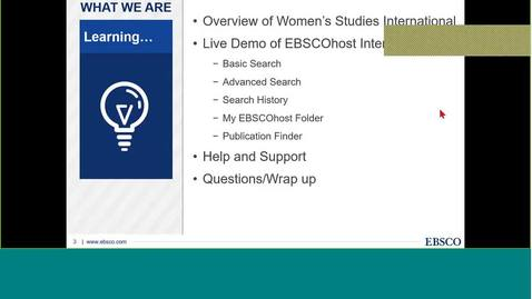 Webinar - Women's Studies International on EBSCOhost - Det Kgl. Bibliotek